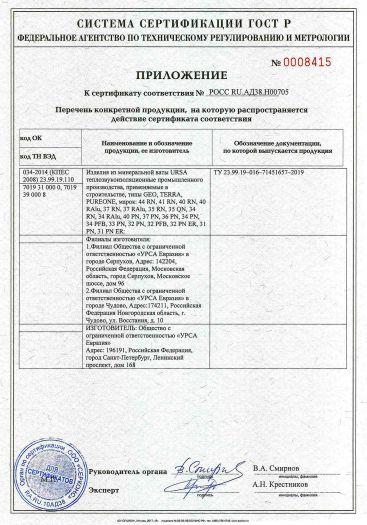 Скачать приложение к сертификату на изделия из минеральной ваты URSA теплозвукоизоляционные, применяемые в строительстве, типы GEO, TERRA, PUREONE