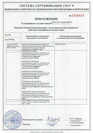 Скачать приложение к сертификату на изделия теплоизоляционные Energoflex из пенополиэтилена в виде трубок