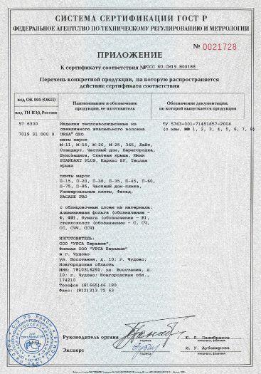 Скачать приложение к сертификату на изделия теплоизоляционные из стеклянного штапельного волокна URSA GEO