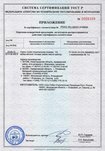 Скачать приложение к сертификату на смесь сухая строительная клеевая С0 вебер.ветонит оптима (weber.vetonit optima)