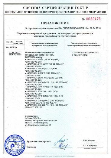 Скачать приложение к сертификату на плиты теплоизоляционные из минеральной (каменной) ваты BASWOOL