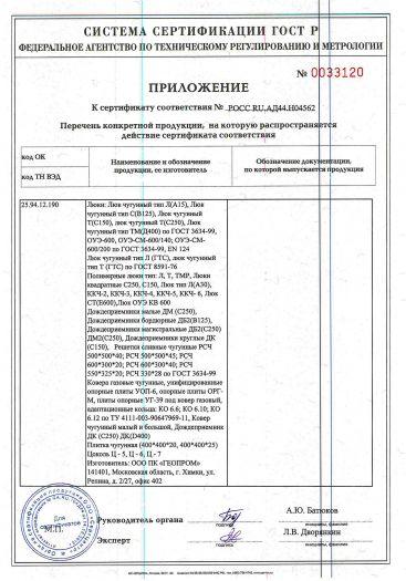 Скачать приложение к сертификату на люки смотровых колодцев, дождеприемники ливнесточные, цоколи