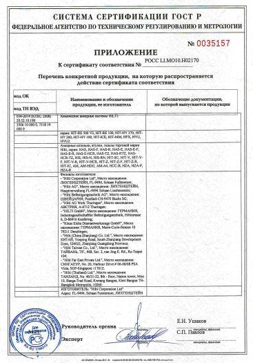 Скачать приложение к сертификату на химические анкерные системы HILTI