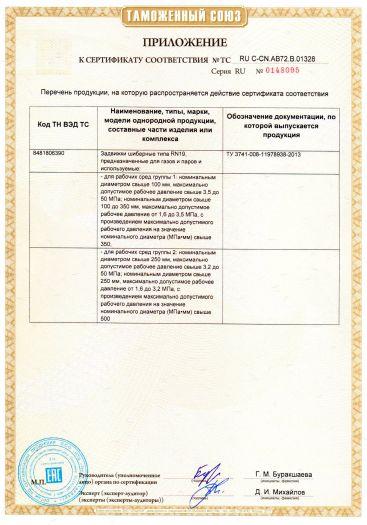 Скачать приложение к сертификату на задвижки шиберные типа RN19, предназначенные для газов и паров
