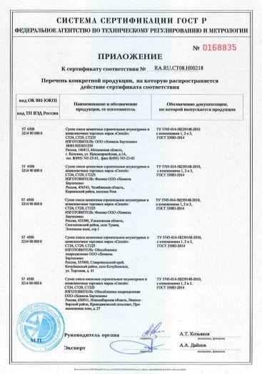 Скачать приложение к сертификату на сухие смеси цементные строительные штукатурные и шпаклевочные торговых марок «Ceresit» CT24, CT29, CT225