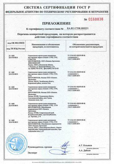 Скачать приложение к сертификату на строительные краски водно-дисперсионные торговых марок «Ceresit»: CT42, CT44, CT48, CT54
