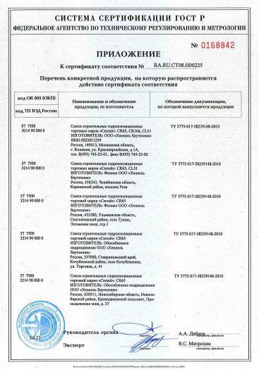 Скачать приложение к сертификату на смеси строительные гидроизоляционные торговых марок «Ceresit»: CR65, CR166, CL51