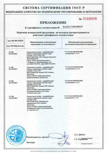 Скачать приложение к сертификату на строительные составы — гидрофобизаторы готовые к применению торговых марок «Ceresit» CT10, CT13, CT99