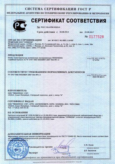 Скачать сертификат на плиты полистирольные вспененные экструзионные ПЕНОПЛЭКС