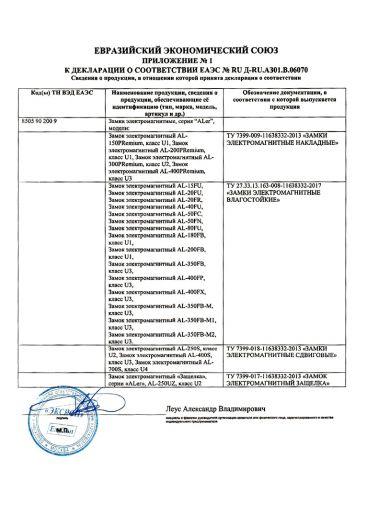 Скачать приложение к сертификату на замки электромагнитные серия «ALer»
