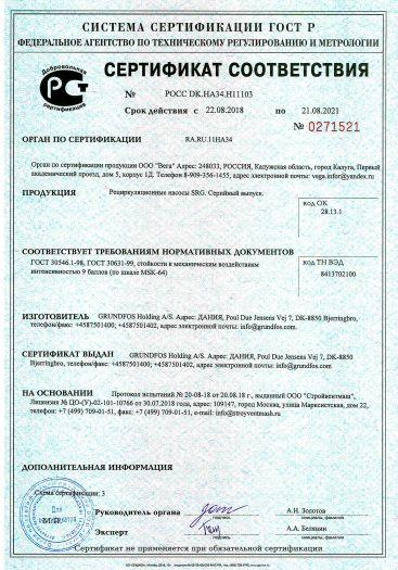 Скачать сертификат на рециркуляционные насосы SRG