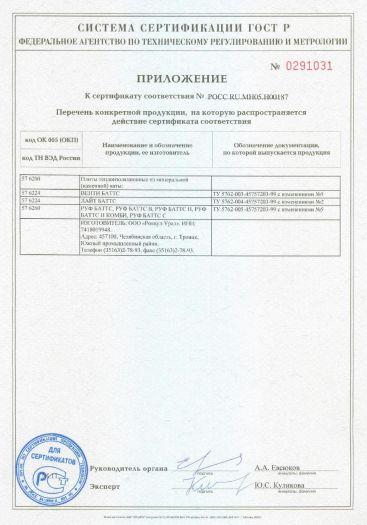 Скачать приложение к сертификату на плиты теплоизоляционные из минеральной (каменной) ваты