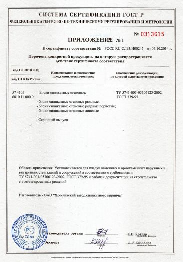 Скачать приложение к сертификату на блоки силикатные стеновые