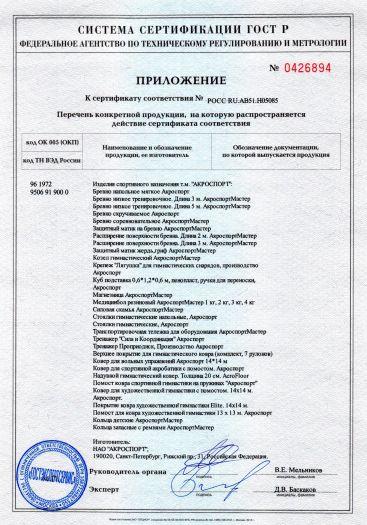 Скачать приложение к сертификату на изделия спортивного назначения т. м. «АКРОСПОРТ»