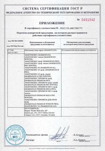 Скачать приложение к сертификату на монтажные пены марки «MAKROFLEX»