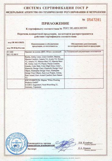 Скачать приложение к сертификату на ламинат на основе ДВП «Witex»