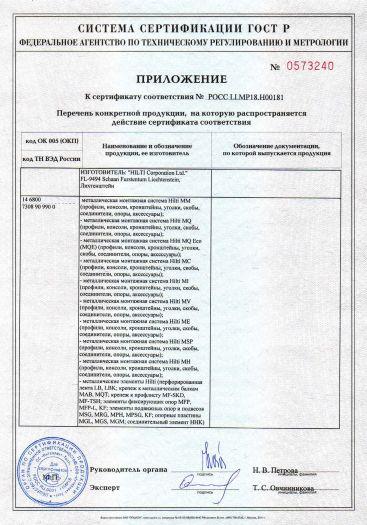 Скачать приложение к сертификату на металлические монтажные системы Hilti