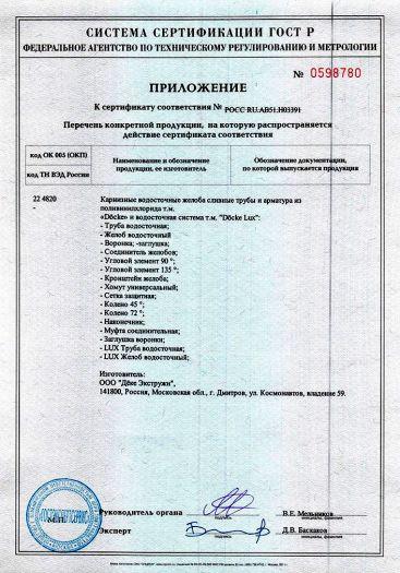 Скачать приложение к сертификату на карнизные водосточные желоба сливные трубы и арматура из поливинилхлорида т.м. «Döcke» и водосточная система т.м. «Döcke Lux»