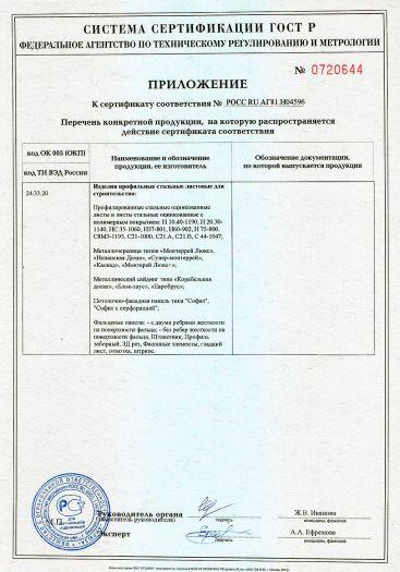 Скачать приложение к сертификату на изделия профильные стальные листовые для строительства