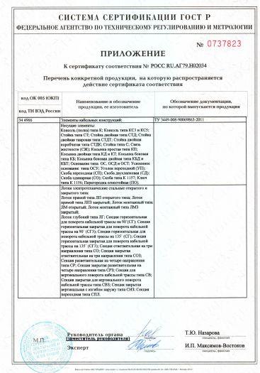 Скачать приложение к сертификату на элементы кабельных конструкций т. м. «ЭЦМ — Электро»