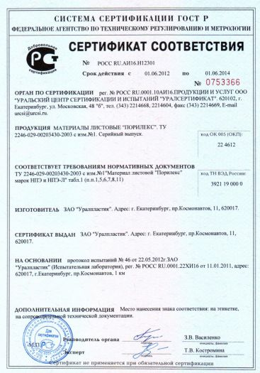 Скачать сертификат на материалы листовые «ПОРИЛЕКС»