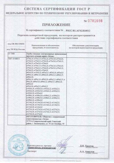 Скачать приложение к сертификату на трубы стальные электросварные прямошовные круглого сечения марки «Октан»