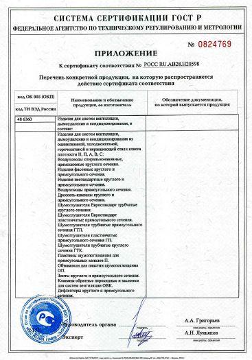 Скачать приложение к сертификату на изделия для систем вентиляции, дымоудаления и кондиционирования