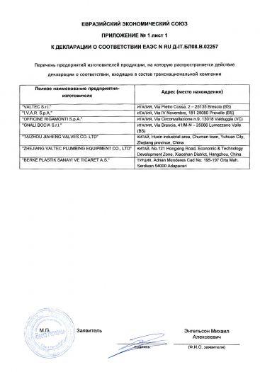 Скачать приложение к сертификату на краны шаровые для воды торговой марки «VALTEC»