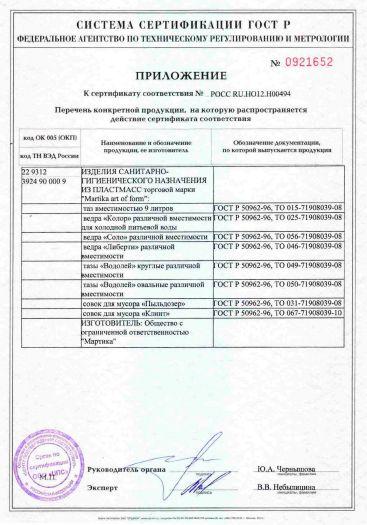 Скачать приложение к сертификату на изделия санитарно-гигиенического назначения из пластмасс торговой марки «Martika art of form»