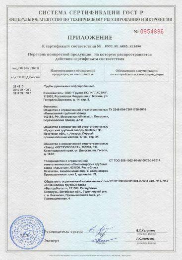 Скачать приложение к сертификату на трубы дренажные гофрированные