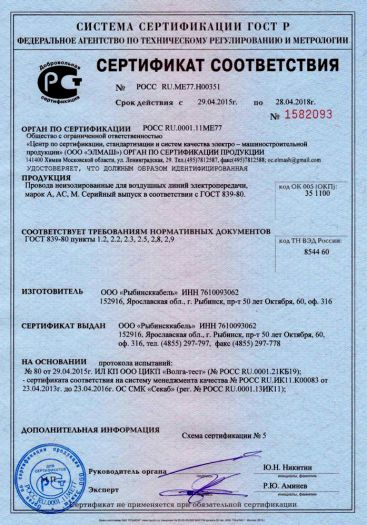 Скачать сертификат на провода неизолированные для воздушных линий электропередачи, марок А, АС, М