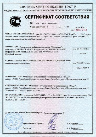 Скачать сертификат на анализаторы инфракрасные, серии «Инфраскан», исполнения: ИНФРАСКАН-105, Инфраскан-210, ИНФРАСКАН-1050, Инфраскан-2100, ИНФРАСКАН-2113 и ИНФРАСКАН-3150
