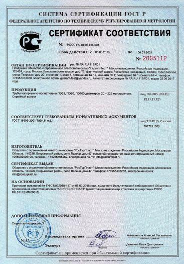 Скачать сертификат на трубы напорные из полиэтилена ПЭ63, ПЭ80, ПЭ100 диаметром 20 — 225 миллиметров