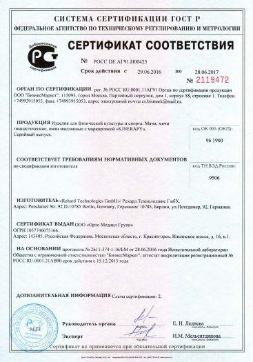 Скачать сертификат на изделия для физической культуры и спорта: Мячи, мячи гимнастические, мячи массажные с маркировкой «KINERAPY»