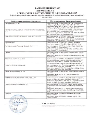 Скачать приложение к сертификату на оборудование контроля и управления доступом торговой марки «Smartec»