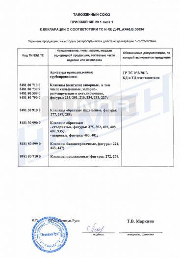 Скачать приложение к сертификату на арматура промышленная трубопроводная, относящаяся к категориям оборудования 1 и 2