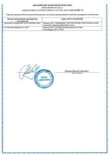 Скачать приложение к сертификату на цифровые фотокамеры торговой марки «Nikon», модели: COOLPIX A10, COOLPIX A100, COOLPIX L23