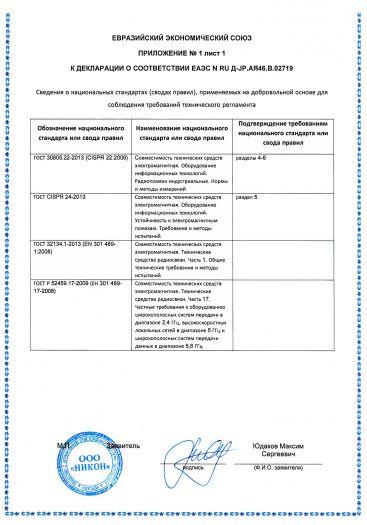 Скачать приложение к сертификату на цифровые фотокамеры торговой марки «Nikon», модели: N1710, N1711, N1530