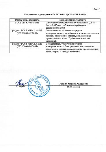 Скачать приложение к сертификату на устройство бесперебойного питания торговой марки HUAWEI модели UPS2000-G-2KRTL