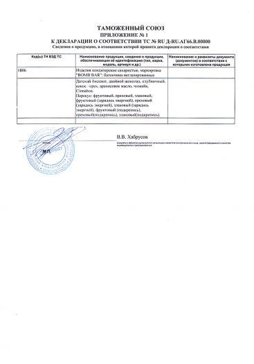 Скачать приложение к сертификату на изделия кондитерские сахаристые маркировка «BOMB ВAR»: батончики неглазированные