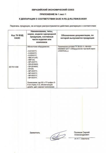Скачать приложение к сертификату на технические средства торговой марки «HOSTCALL» — абонентское оборудование