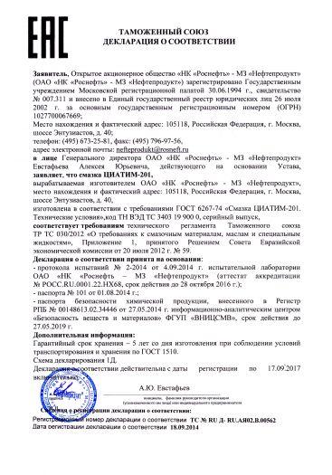 Скачать сертификат на смазка ЦИАТИМ-201