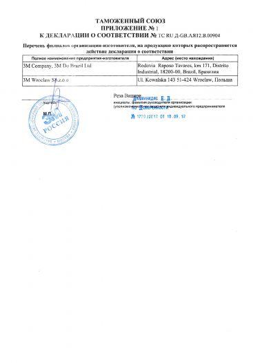 Скачать приложение к сертификату на СИЗ органа слуха. Вкладыши противошумные, торговый знак «ЗМ»