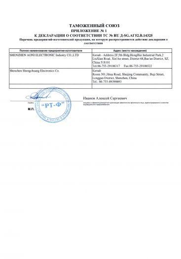 Скачать приложение к сертификату на веб-камеры напряжением 5 В торговая марка SVEN