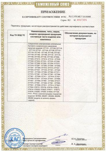 Скачать приложение к сертификату на соединители электрические, штепсельные бытового и аналогичного назначения (розетки)