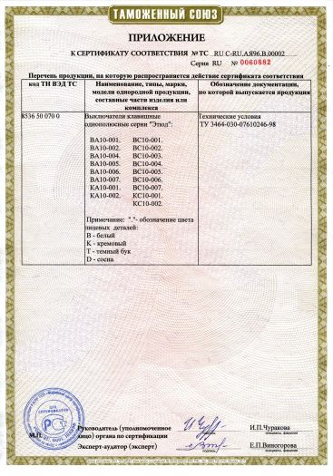 Скачать приложение к сертификату на выключатели клавишные однополюсные серии «Этюд»