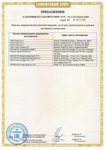 Скачать приложение к сертификату на оборудование насосное бытовое для водоснабжения, типов SB, SBA, MQ, JP, JP Booster (JPB), JPBasic, JDBasic, PFBasic, PFPBasic, NSBasic комплектующие и запасные части к ним