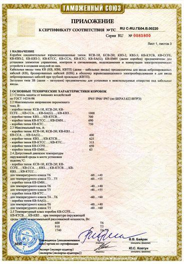 Скачать приложение к сертификату на коробки соединительные взрывозащищенные КСВ, КВЗ, КВ, кабельные вводы КВ, КВБ, КВТП, заглушки ЗВ