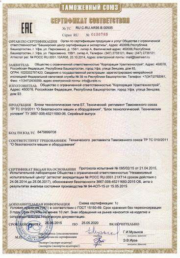 Скачать сертификат на блоки технологические типа БТ