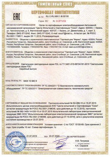 Скачать сертификат на светильники светодиодные серии FDL